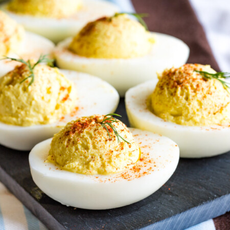 Greek Yogurt Deviled Eggs without Mayonnaise on a serving platter