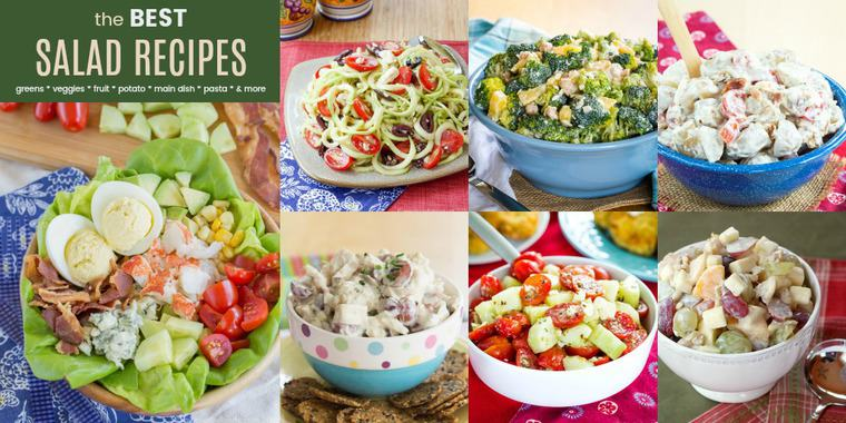 Collage of the Best Salad Recipes with lobster cobb salad, Waldorf Fruit Salad, Zoodles Greek Salad, and more