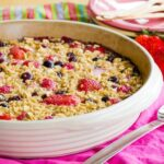 Round baking dish with Mixed Berry Baked Oatmeal