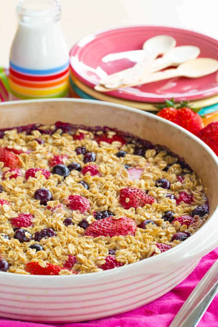 Round baking dish with Mixed Berries Baked Oatmeal