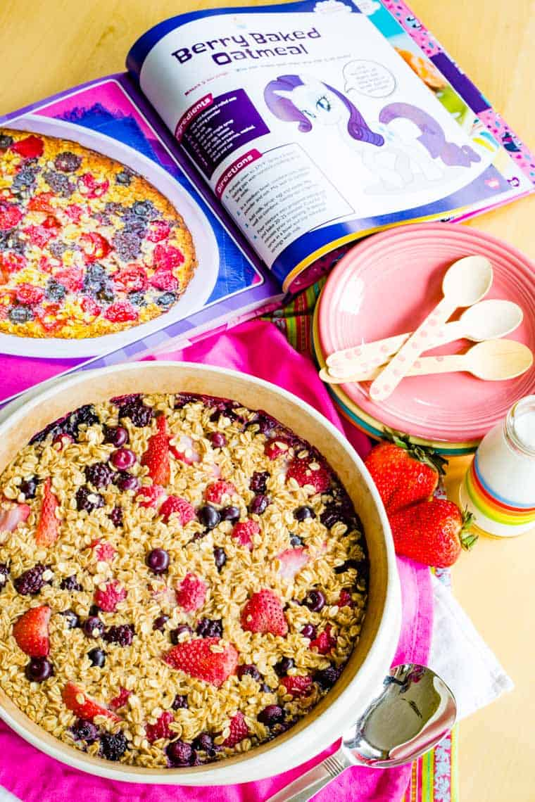 Open to the Berry Baked Oatmeal recipe page in the My Little Pony Baking Book cookbook