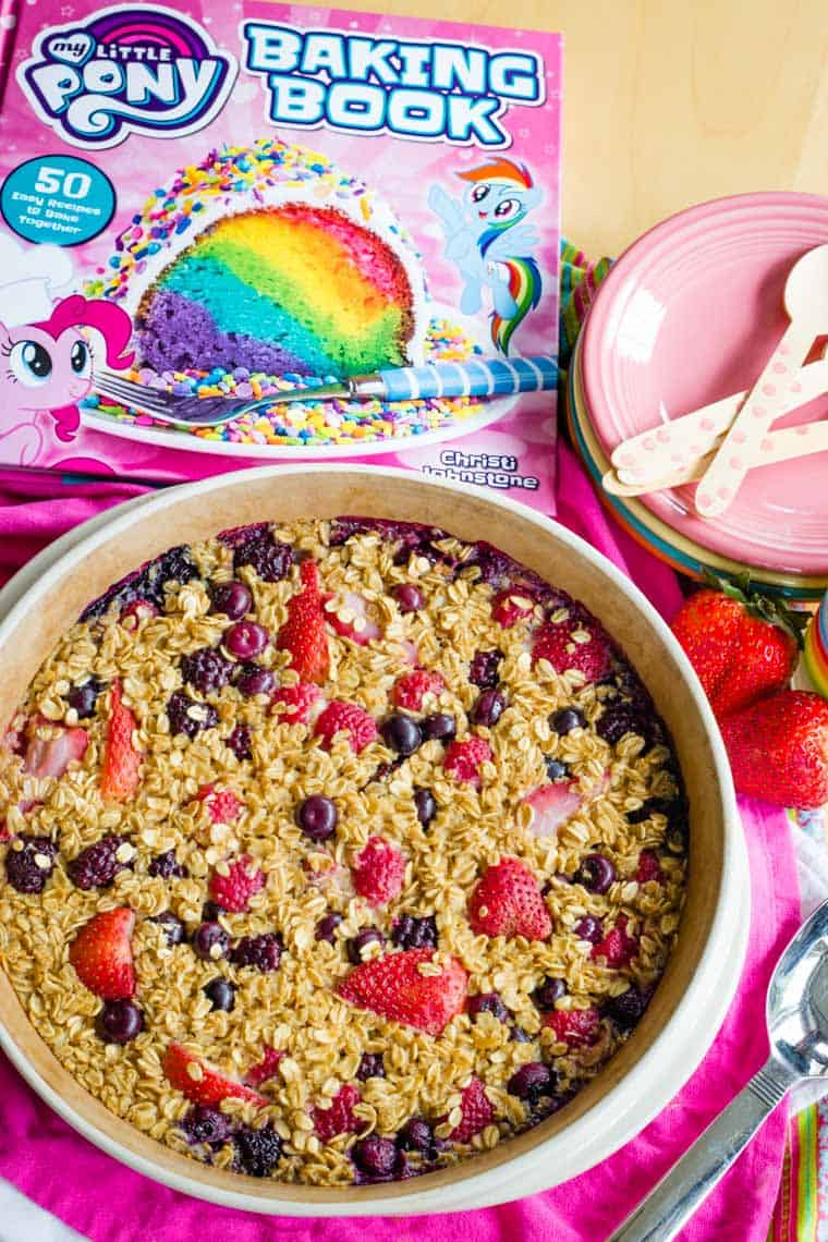 Overhead of Mixed Berry Baked Oatmeal from the My Little Pony Baking Book