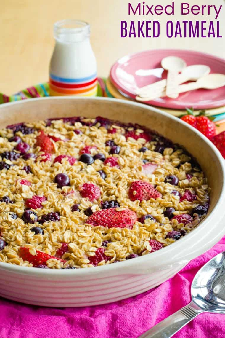 Mixed Berry Baked Oatmeal Recipe with title on image