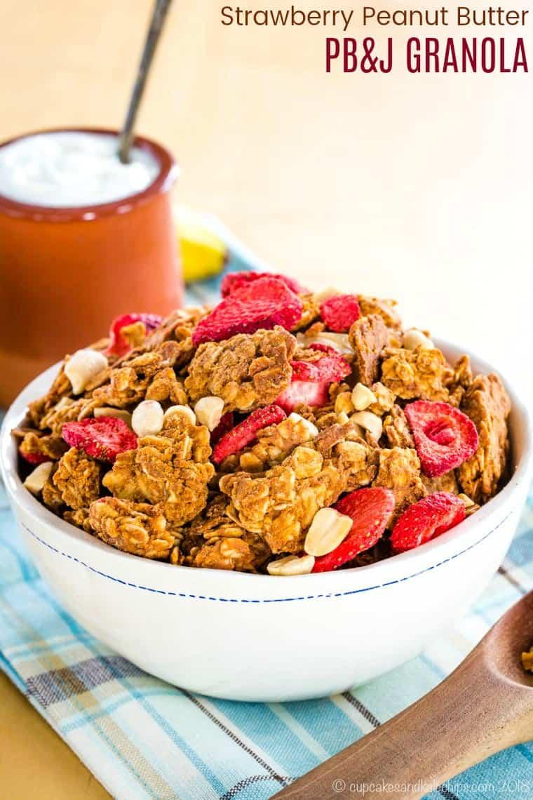 PB&J Strawberry Peanut Butter Granola Recipe with title