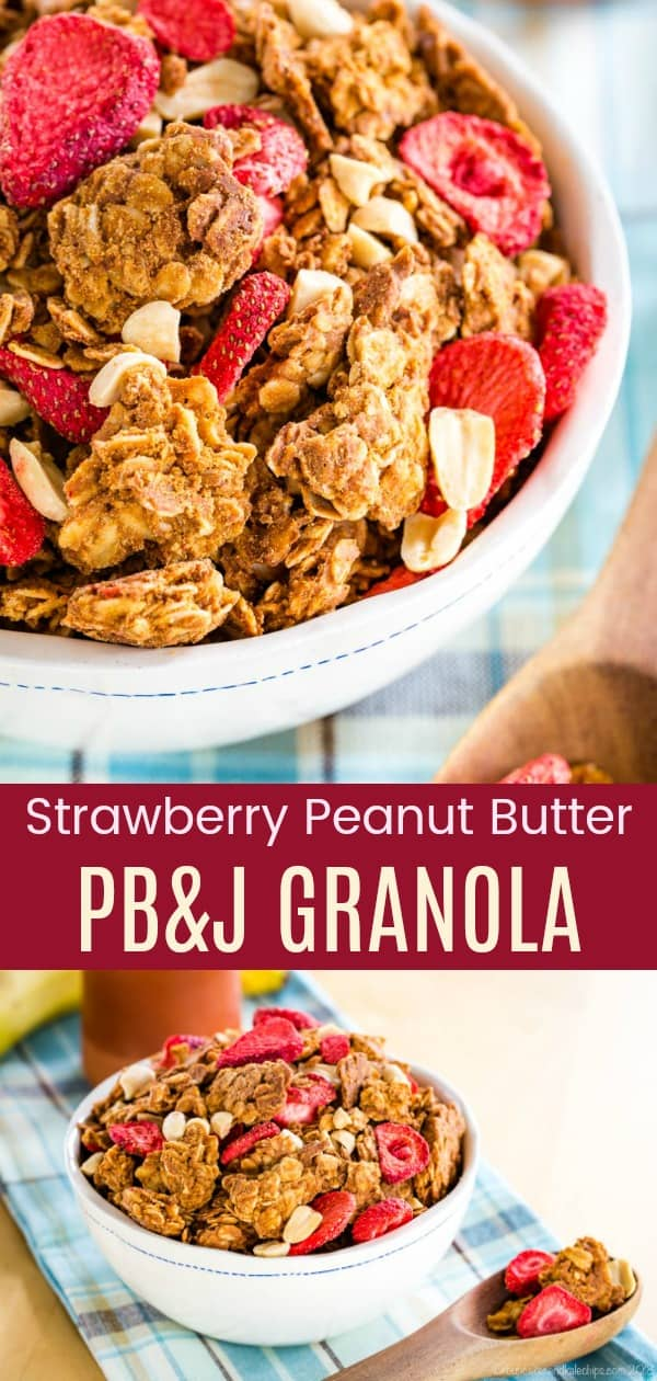 PB&J Strawberry Peanut Butter Granola Pinterest collage