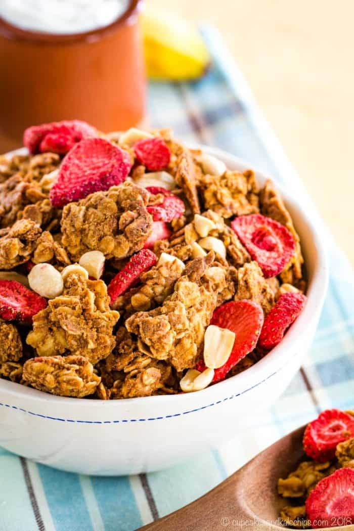Peanut Butter and Jelly Granola in a white bowl