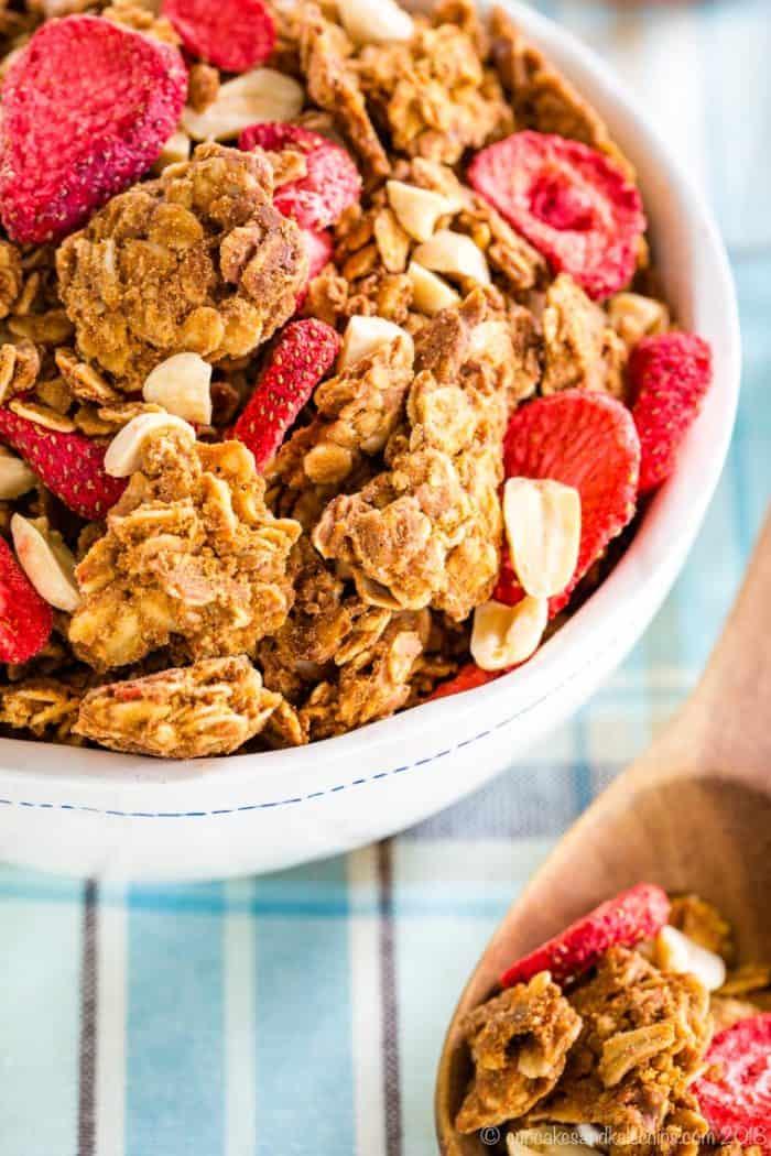 Closeup of PB&J Strawberry Peanut Butter Granola in a bowl