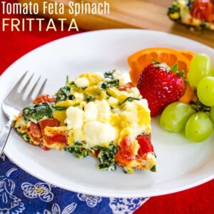 Tomato Feta Spinach Frittata on a white platw