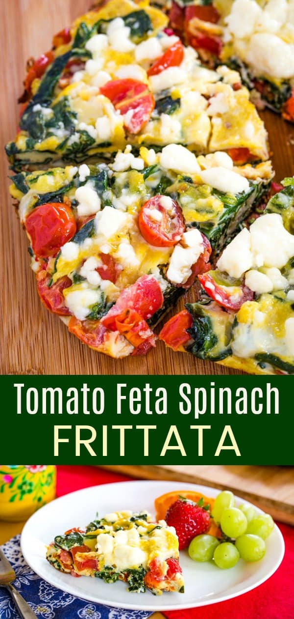 Tomato Feta Spinach Frittata collage with two images