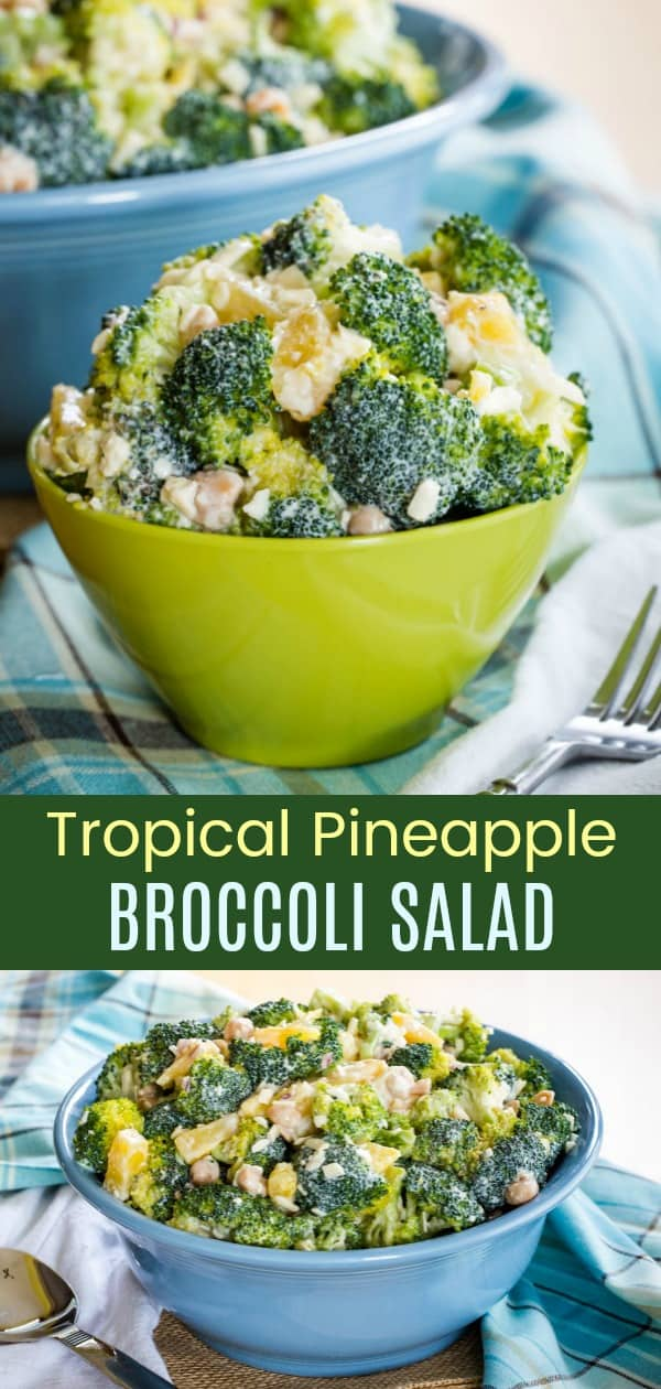 Tropical Pineapple Broccoli Salad collage of two images