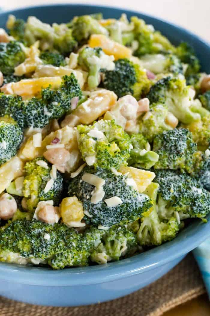 Closeup of Tropical Broccoli Salad with Pineapple and Macadamia Nuts
