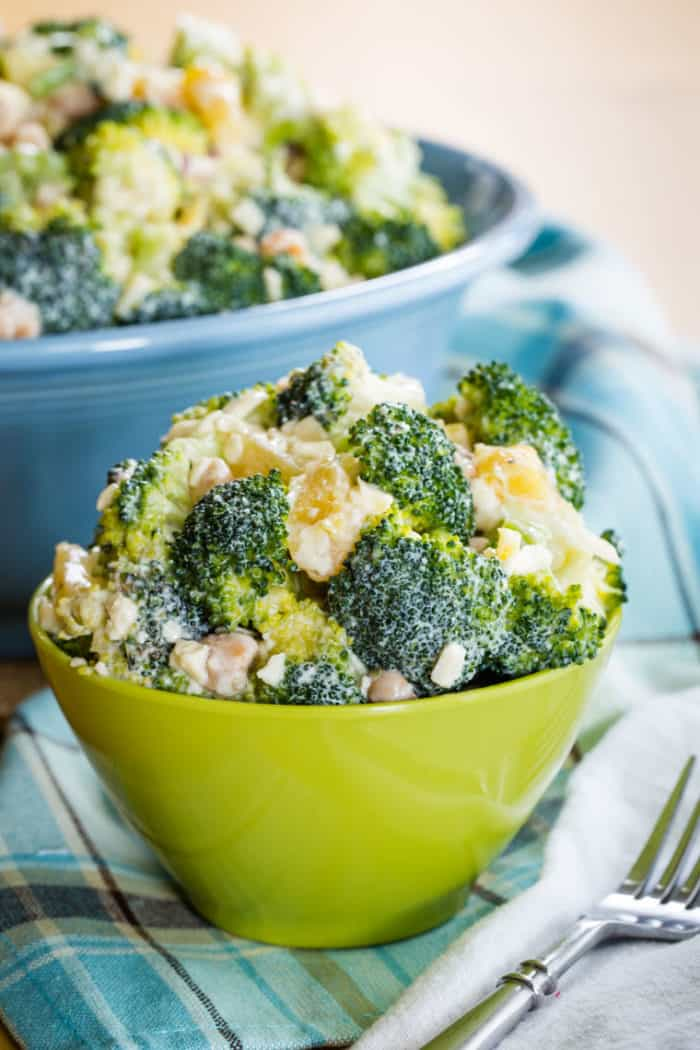 Tropical Broccoli Salad in a green bowl