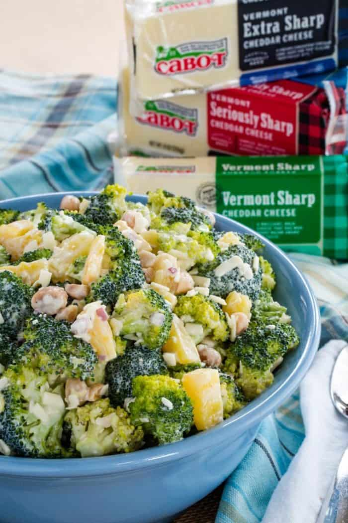 Tropical Pineapple Broccoli Salad made with Cabot Cheddar Cheese