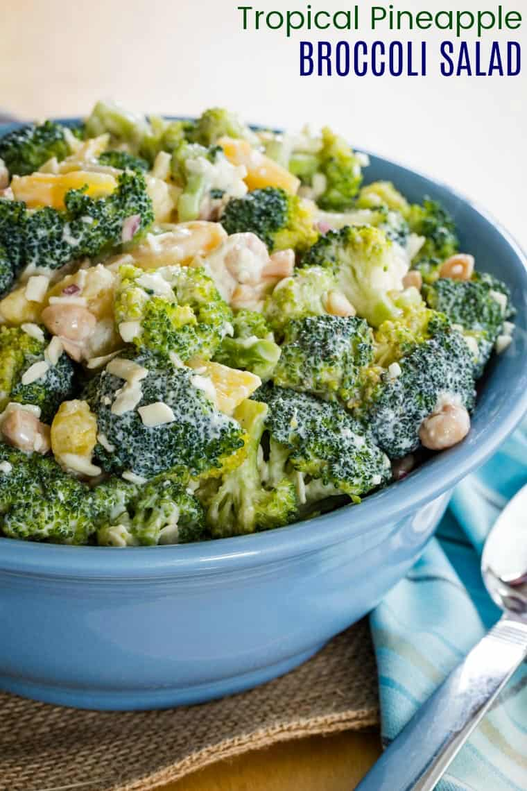 Tropical Pineapple Broccoli Salad Recipe with title