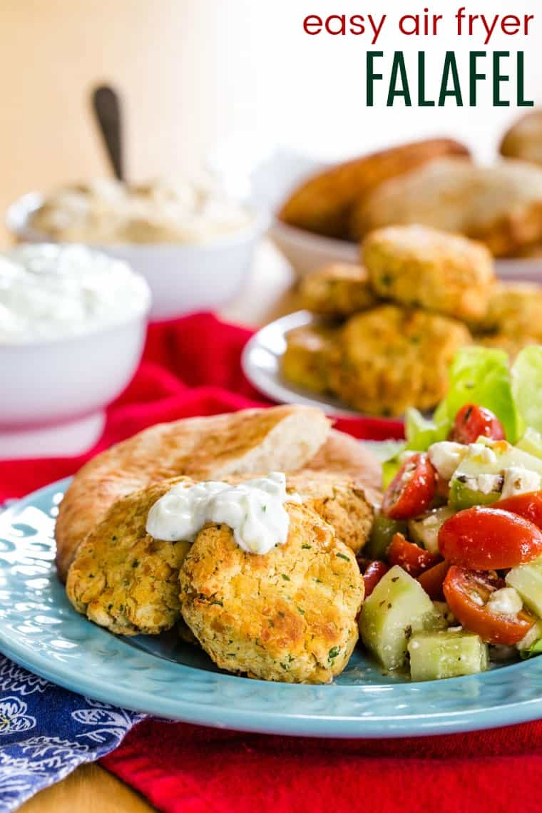 Easy Air Fryer Falafel recipe topped with tzatziki sauce