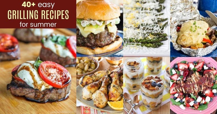 Horizontal collage of Easy Grilling Ideas for steak, chicken, burgers, vegetables, and more