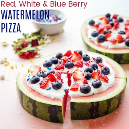 Red, White, and Blue Berry Watermelon Fruit Pizza image with title