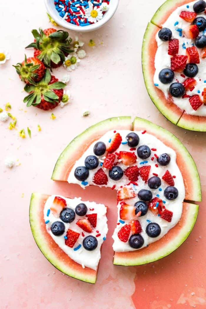 Red, White, and Blue Berry Watermelon Pizza from above