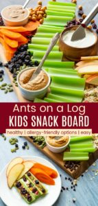Healthy Ants on a Log Kids Snack Board Pinterest Collage