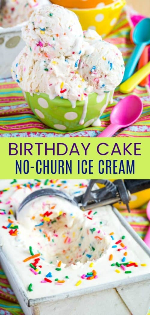Birthday Cake No Churn Ice Cream Pinterest Collage