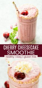 Cherry Cheesecake Smoothie Pinterest Collage