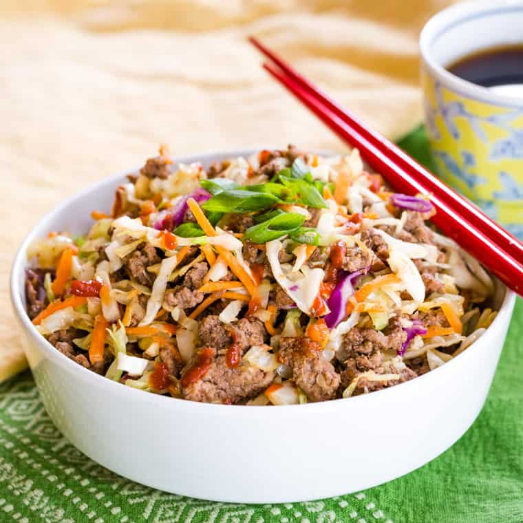 Low Carb Ground Beef Egg Roll in a Bowl