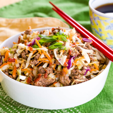 Easy Ground Beef Egg Roll in a Bowl with colorful slaw mix