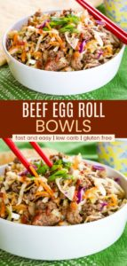 Keto Egg Roll in a Bowl Recipe Pinterest Collage