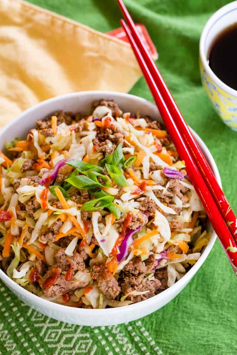 Overhead photo of beef egg roll in a bowl