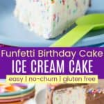 Easy Gluten Free No-Churn Funfetti Birthday Cake Ice Cream Cake Pinterest Collage