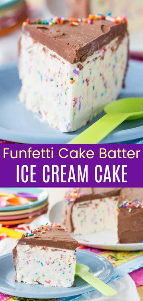 Funfetti Cake Batter Ice Cream Cake Pin Collage