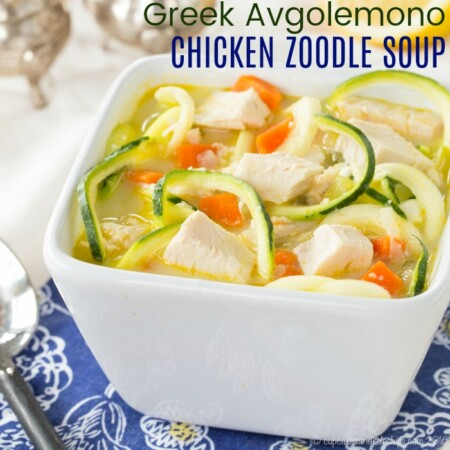 Greek Avgolemono Chicken Zoodle Soup with title