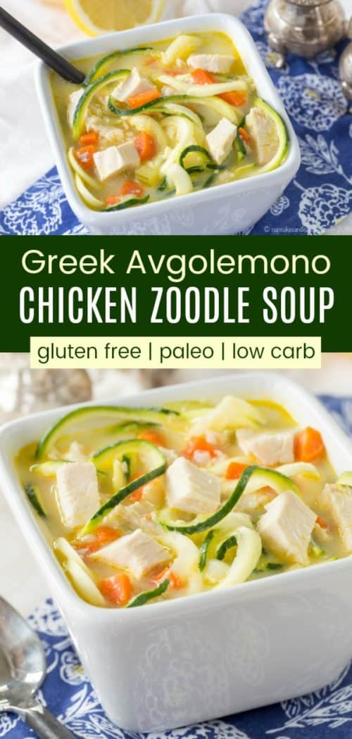 Greek Avgolemono Chicken Zoodle Soup Vertical Collage