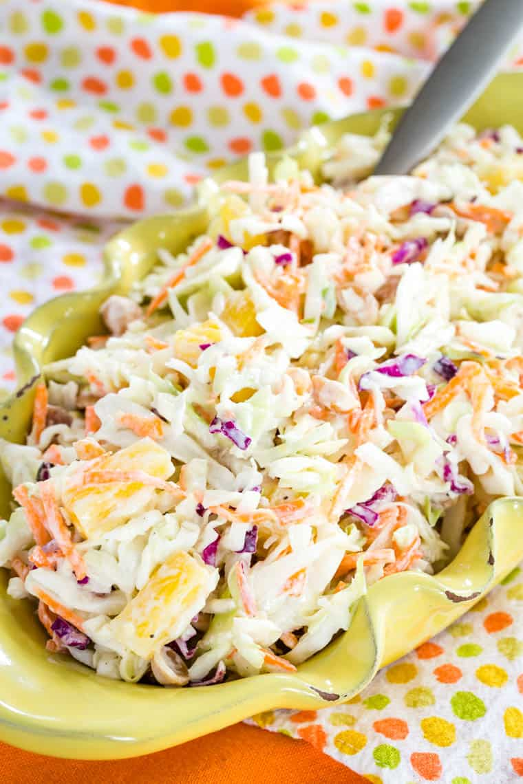 Sweet Hawaiian Pineapple Coleslaw closeup