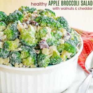 Healthy Apple Broccoli Salad with Walnuts and Cheddar