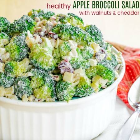 Healthy Apple Broccoli Salad with Walnuts and Cheddar