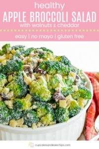 Easy No-Mayo Healthy Apple Broccoli Salad with Walnuts and Cheddar Pin Template Pink