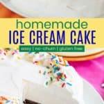Gluten Free Easy Ice Cream Cake Pinterest Collage