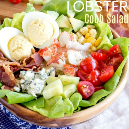 Lobster Cobb Salad with bacon, avocado, tomatoes, corn, blue cheese, and deviled eggs