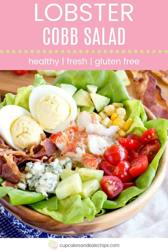 Healthy Fresh Gluten Free Lobster Cobb Salad Pin Template Pink
