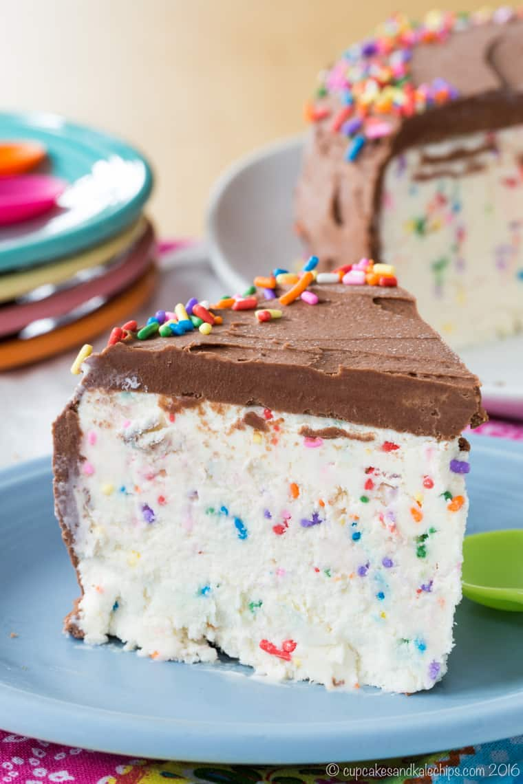 Plenty of rainbow sprinkles in this slice of No-Churn Funfetti Cake Batter Ice Cream Cake