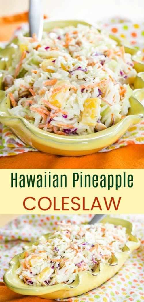 Tropical Hawaiian Pineapple Coleslaw Pinterest Collage