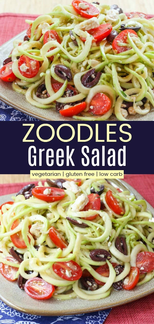 Vertical collage of Greek Zoodle