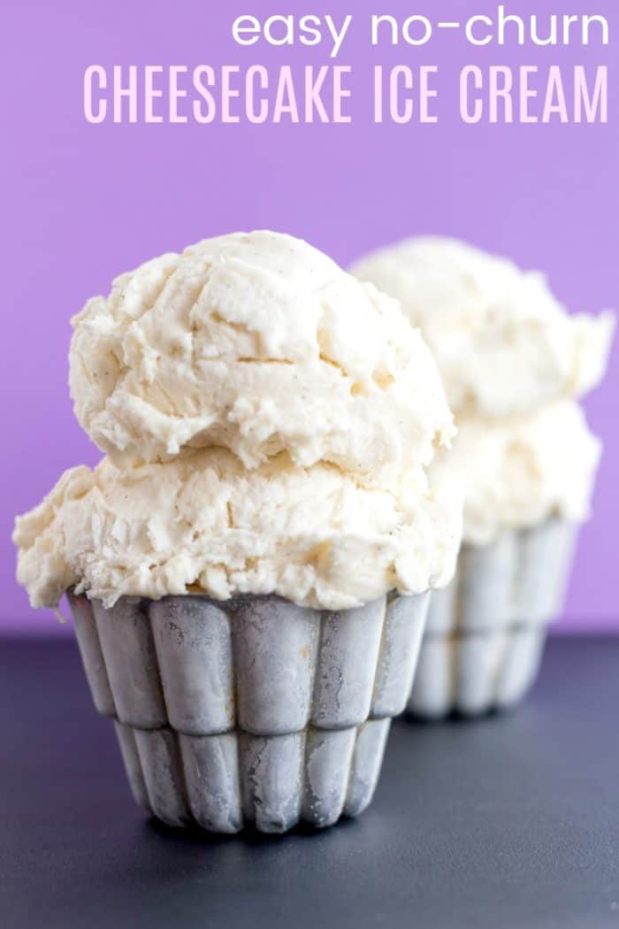 Easy No-Churn Cheesecake Ice Cream Recipe image with title