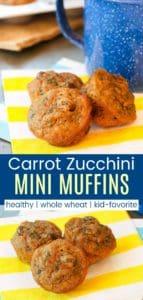 Healthy Whole Wheat Carrot Zucchini Muffins Pin