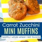 Healthy Whole Wheat Carrot Zucchini Muffins Pin