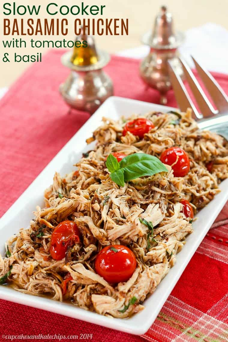 Slow Cooker Balsamic Chicken with Tomatoes and Basil