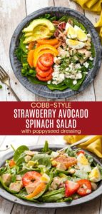 Summer Cobb-Style Strawberry Avocado Spinach Salad Pinterest Collage