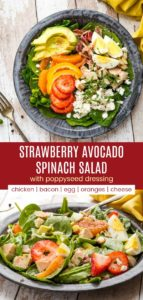 Strawberry Avocado Spinach Salad with poppyseed dressing Pinterest collage