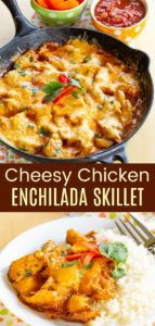 Easy Cheesy Chicken Enchilada Skillet Pin